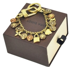 Louis Vuitton Authentic Louis Vuitton Gold-Tone Link Chain Multi Monogram & Logo Bag Charm