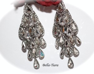 Bella Tiara Silver Glamorous Crystal Long Drop Chandelier Earrings