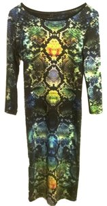 Topshop Body-con Midi Print Dress
