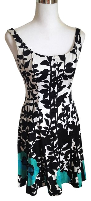 Preload https://item1.tradesy.com/images/nine-west-floral-print-black-white-turquoise-a-line-with-bodice-short-casual-dress-size-2-xs-4385470-0-0.jpg?width=400&height=650