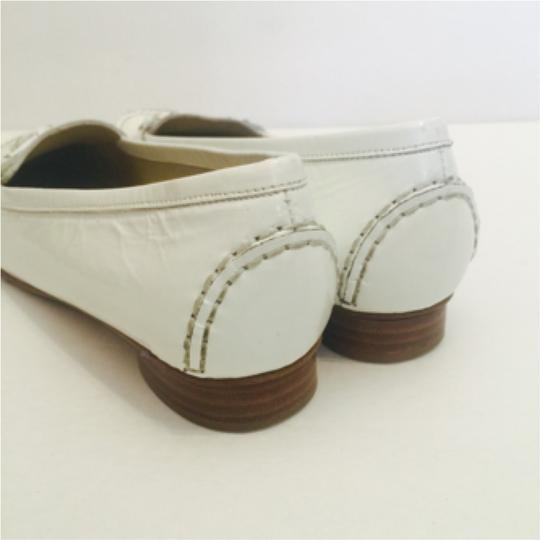 Stuart Weitzman Leather Tassel Loafers White Flats