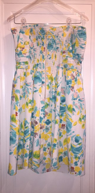 Gianni Bini short dress Off White Blue Green Yellow Floral on Tradesy