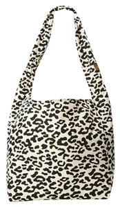 Vine Street Market Fold Up Travel Friendly Heavy Duty Durable Canvas Tote in Black/White Leopard Print