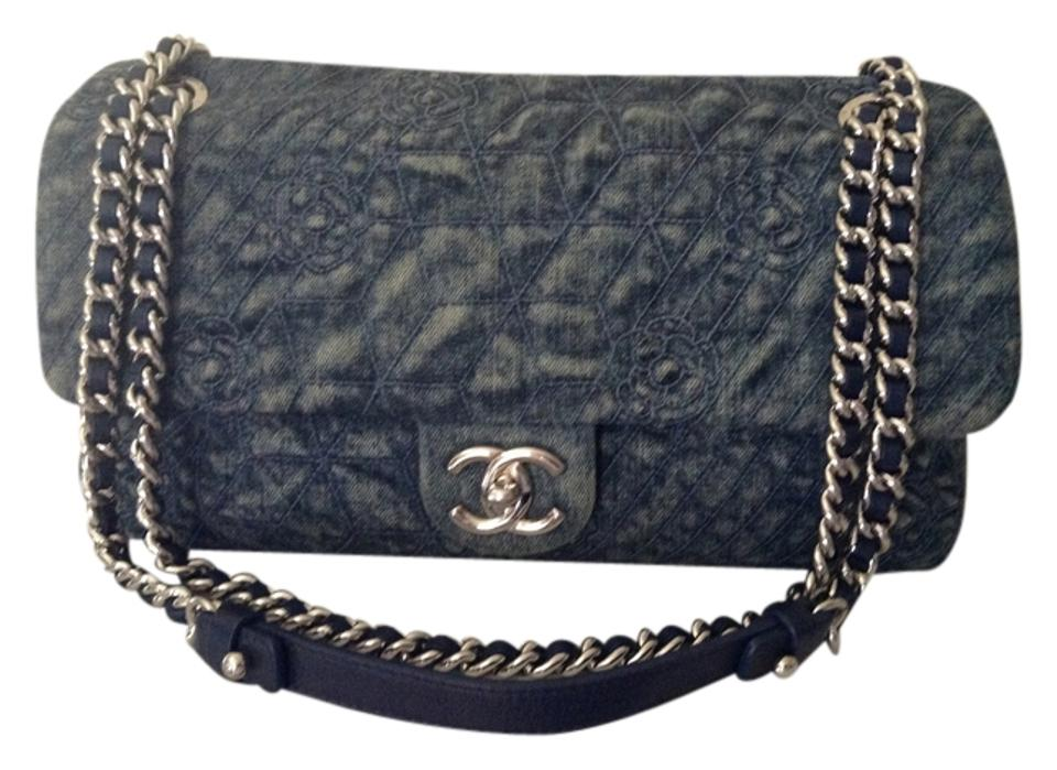 5ceaedfd43cd Chanel Classic Flap Camellia Blue Denim Cross Body Bag - Tradesy