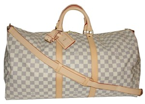 Louis Vuitton Keepall blue and white Travel Bag