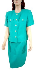 Amanda Smith AMANDA SMITH Short Sleeve Green Double-Breasted Skirt Suit