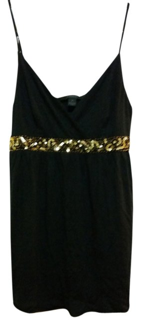Express Embellished Top Black with Gold