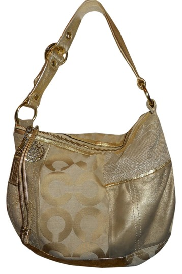 Preload https://item1.tradesy.com/images/coach-patchwork-shoulder-gold-and-beige-leather-textile-hobo-bag-4387765-0-0.jpg?width=440&height=440