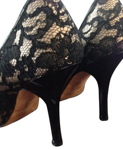 White House | Black Market Romantic Nude Black Lace Pumps