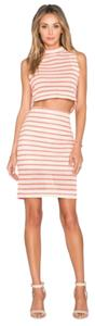 J.O.A Lose Angeles Striped Knit Skirt Striped Coral