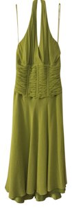 Carmen Marc Valvo Lime Tropical Tea Length Halter Summer Dress