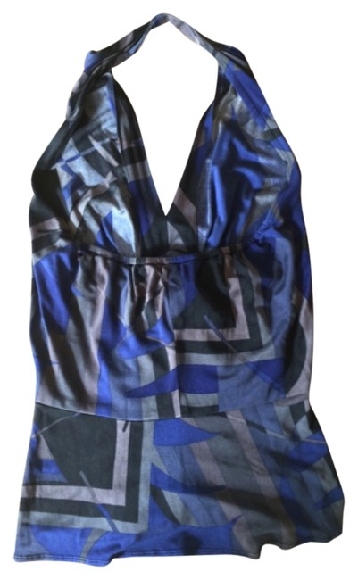 Elie Tahari Sleeveless Silk Top Blue, black multi.