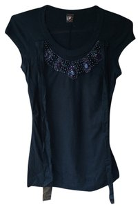 Language Bejeweled Embellished Beaded T Shirt Black