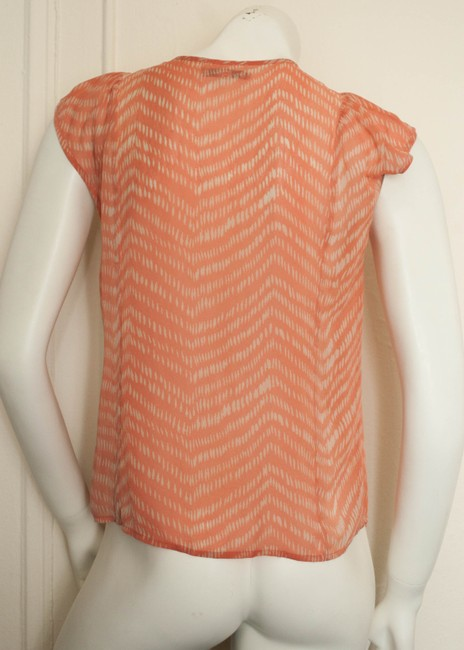 Madewell Sheer Abstract Oversized Flowy Loose Fit Hipster Preppy Chevron Silk Keyhole Tribal Cochella Hippy Hippie Boho Bohemian Top orange/salmon and white