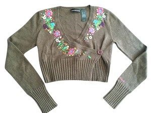 DKNY Sequins Brown Cropped Sweater
