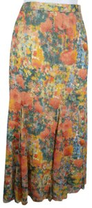 Coldwater Creek Green Orange Floral Long Full Maxi Skirt Peach