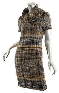 Oscar de la Renta short dress Brown Tweed Tweed Cowl Neck on Tradesy