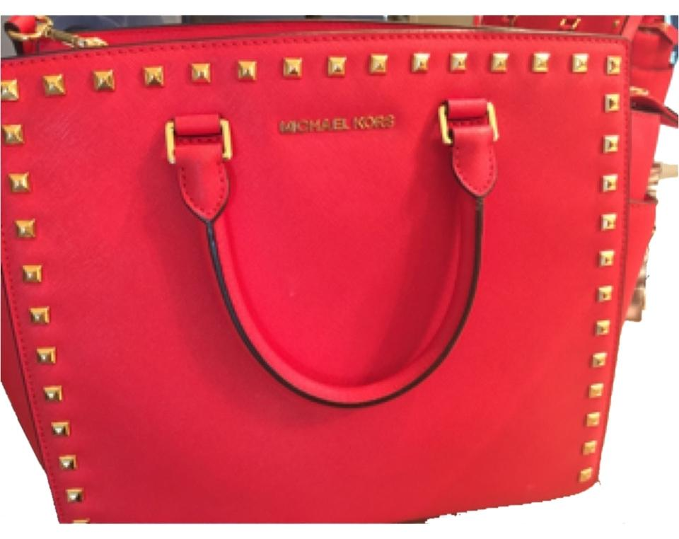 d39e9c102aa5 Michael Kors Studded Selma Handbag Red Saffiano Leather Satchel ...