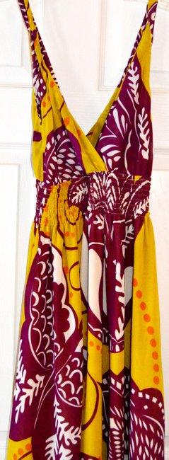 Maxi Dress by Aryeh Maxi Maxi Purple Yellow Lime Ivory Date Night Floral Leaf Image 1