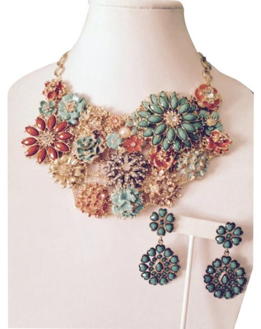 Item - Turquoise/Orange/Crystal/Gold 2-piece Set Faceted Stone Earrings Necklace