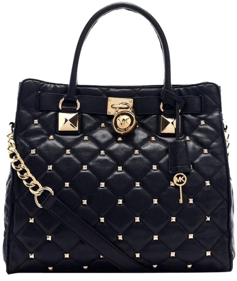 3a5822b4afbd MICHAEL Michael Kors Quilted Leather Studded Hamilton Purse Large Tote in  Black Image 0 ...