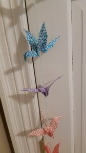Origami Paper Crane Mobile With Glass Beads