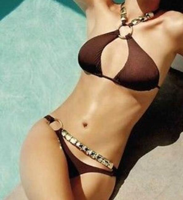 Item - Brown Double Trouble Scrunched Bikini Set Size 2 (XS)