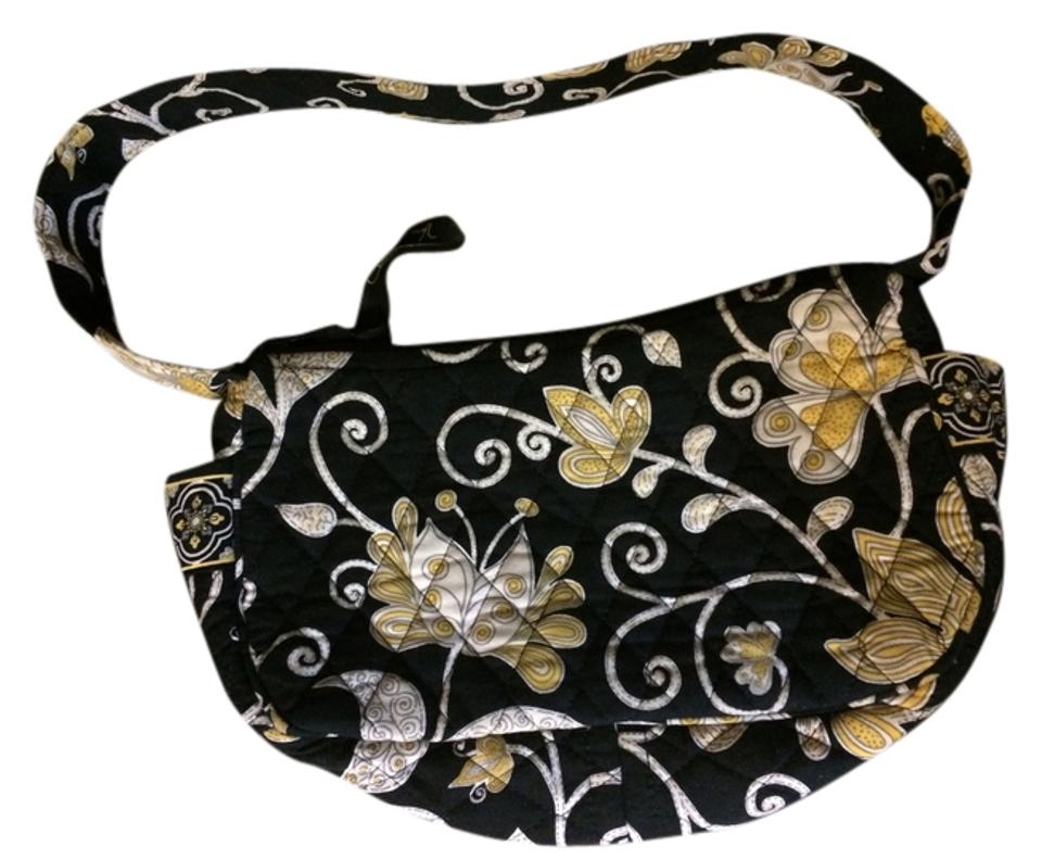 6e3976bd10 Vera Bradley Small Purse In Yellow Bird Print Black Cotton Shoulder ...