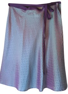 Jane Hamill Silk Wrap Above Knee Skirt Purple