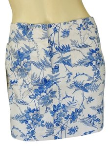 Express Cotton Toile Mini Floral Mini Skirt Blue
