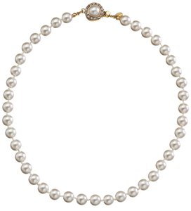Premium Simulated Cream Pearl Hand Knotted Goldtone Necklace with Cabochon Clasp, 16