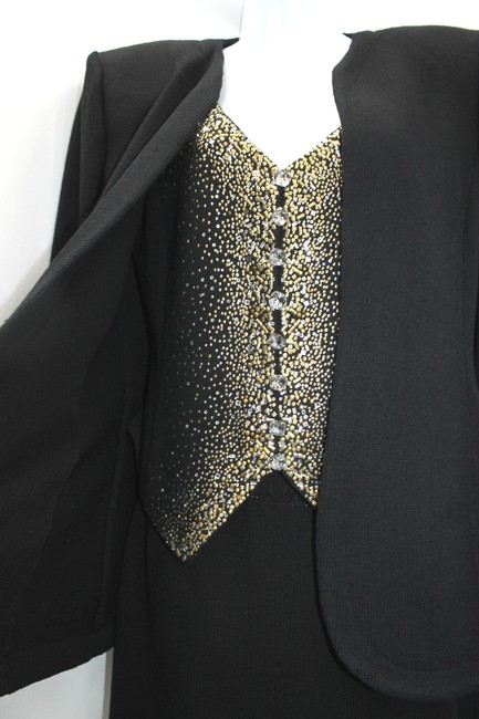 St. John ST. JOHN EVENING BY MARIE GRAY EMBELLISHED 3-PC. BLACK KNIT SKIRT SUIT 4