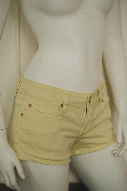 ZCo. Booty Bootie Denim Jeans Elastic Colored Denim Dyed Denim Hipster Cochella Burningman Mini/Short Shorts lemon yellow
