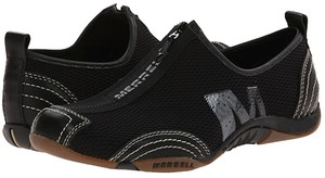 Merrell Leather Mesh Sporty Slip-on Zip-up Black Athletic