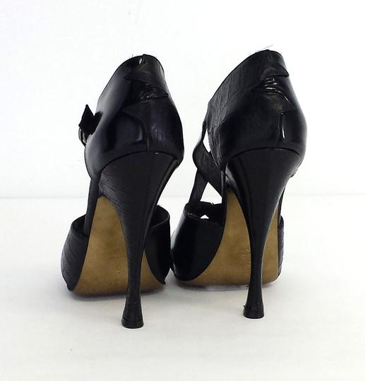 Donna Karan Leather Platform Heels Sandals