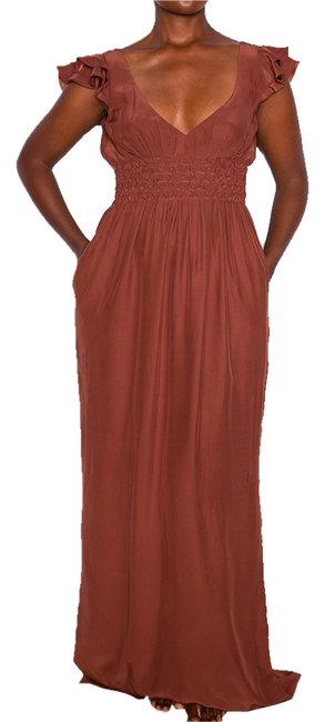 Rust Maxi Dress by Other Maxi Color Silk Empire Waist Rusched Elegant Wedding