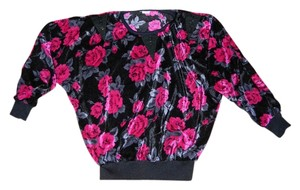 JiasMai Top Black Velvet with Pink Roses