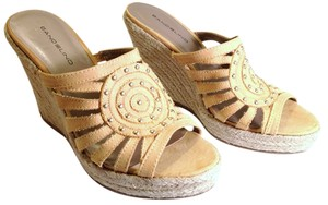 Bandolino Suede Wedge Jute Braided Mustard Yellow & Gold Sandals