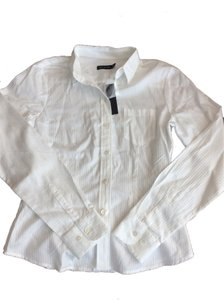 The Limited Shirt Blouse Nwt New Striped Button Down Shirt White