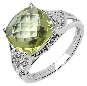 Nordstrom New! Olivia Leone Sterling Silver Cushion Cut Lemon Topaz Filigree Cocktail Ring, Size 9