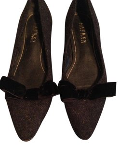 Ralph Lauren Tweed Kitten Heel Pointed Toe Gray Flats