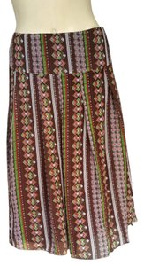 Harold Powell Silk Print Pleated Skirt Brown
