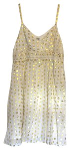 H&M short dress White with Gold Polkadots Flowing Summer on Tradesy