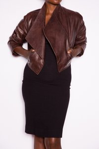 Donna Karan Shrug Leather Coat