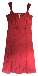 Nine West short dress Cardinal Red Floral Damask Summer on Tradesy