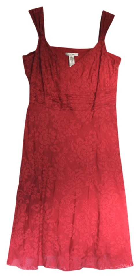 Nine West Short Dress Cardinal Red Fl Damask Summer Sundress On Tradesy