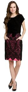 Nanette Lepore Scalloped Lace Lace Pencil Skirt Black and Purple