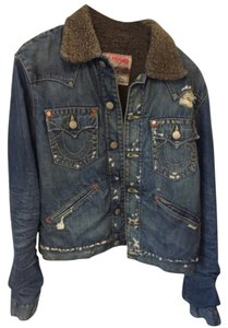 True Religion Lined Jimmy Sherpa Faux Fur Lined Distressed Denim Womens Jean Jacket