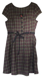 Folter short dress Green, Maroon, Black plaid on Tradesy