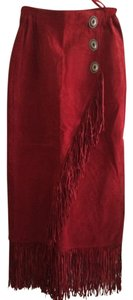 Scully Leather Suede Fringe Hem Skirt Red